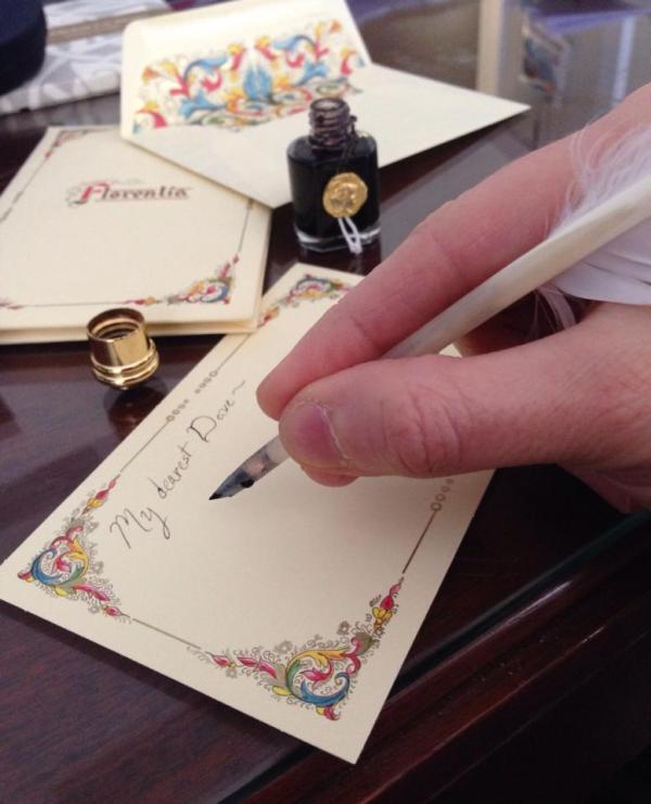 EVERYONE WHO DONATED RECEIVED A LOVE LETTER WRITTEN WITH QUILL PEN AND INK ON AN ANTIQUE DESK. (I ALSO SPRITZED THEM WITH MY FAVORITE PERFUME.)