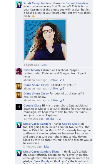 MUCH TO MY SURPRISE, GOOGLE GLASS COMMENTED ON MY CAMPAIGN!